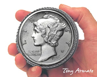 "1916 Winged Liberty • BIG 3"" COIN • Mercury Dime • Treasure, Trinket and Stash Box. • Classic and Collectible • Includes A Free Gift !!!"