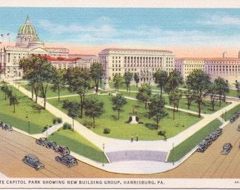 Harrisburg, Pennsylvania, State Capitol Park - Linen Postcard - Unused (CCC)