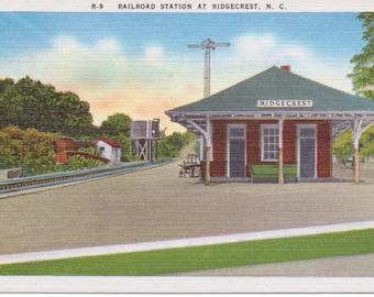 Ridgecrest, North Carolina, Railroad Station - Linen Postcard - Unused (CCC)