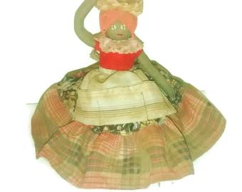 """Vintage Unique 18"""" Black Grenada Rag Spice Doll With Spice Basket"""