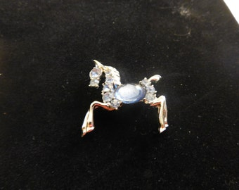 Silver and Blue Horse Pin