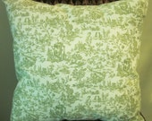 Green Toile Pillow Cover, Paris Accent Pillow, Decorative Pillow, Various Sizes