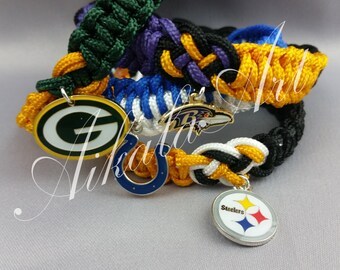 Paracord coinknot braided bracelet in NFL Sports Team colors-MADE to ORDER