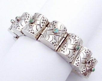 Vintage 1930s Taxco Mexican Mexico Sterling Silver Turquoise Bracelet 21224