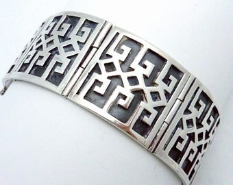 Vintage Taxco Mexican Mexico Sterling Silver Bracelet Artist Signed 21240