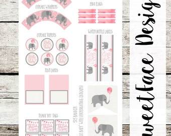 Elephant with Watercolor Balloon DIY party printable pdf. Cupcake wrapper, water bottle label, bunting banner, baby boy or baby girl