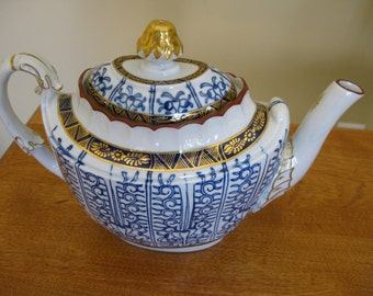 Antique Narrow Teapot Painted Blue with Gold Trim