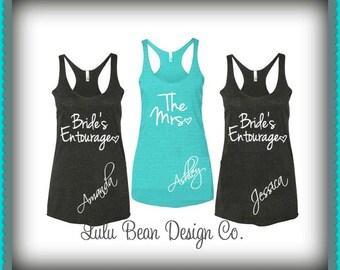 12 Bridesmaid Tank Tops Racerback Personalized Bride's Entourage Bachelorette Wedding Shirts Tees Maid of Honor