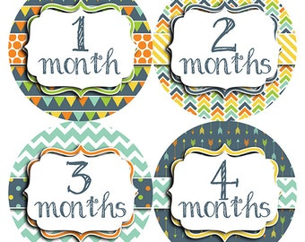 FREE GIFT, Baby Month Stickers, Monthly Baby Stickers, Milestone Stickers, Boy, Chevron, Polka Dots, Stripes, Blue Orange Green Yellow