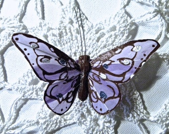 "SPECIALTY BUTTERFLY~""Shy Violet"" Inspired Feather Butterfly Hair Clip"