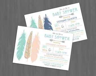 Modern Tribal Feathers Baby Shower Invitation // Digital or Printed (FREE SHIPPING!)