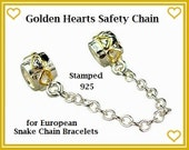 Stamped 925 ~ Gold Heart Safety Chain ~ Silver Thread Bead European Charm Stopper Beads - for Snake Chain Bracelet - MSC-G Hearts
