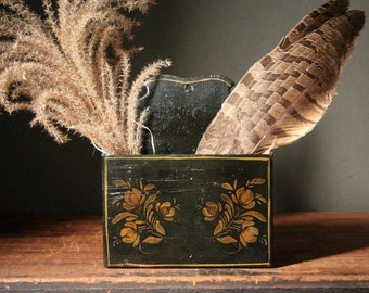 Black lacquer letter holder, hand stenciled, mid century crafts
