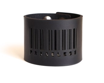 black leather bracelet - Barcode Cuff in Black Leather with Snaps: PRICELESS - modern design, laser cut