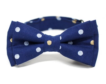 Navy metalic dotty Bow Tie for all ages, gold and silver polka dot - Pre-tied bowtie - ring bearer, wedding day, photo prop, church