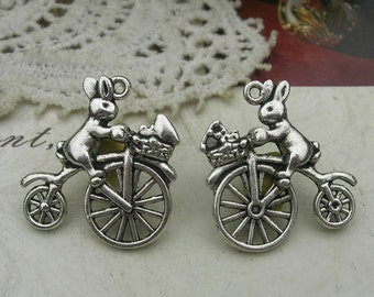 6pcs  Antique Silver Plated   Cycling Rabbit Pendant Charm,Nickel Free (22X24MM)
