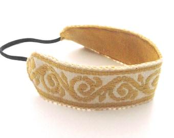 Boho headband  jacquard yellow head band  women hair