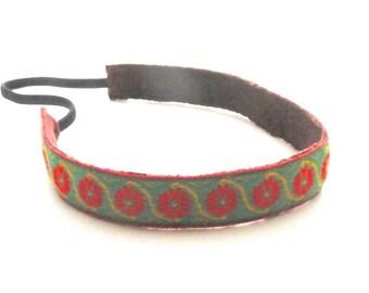 Boho headband  green jacquard head band trim women hair