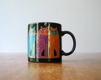 "Laurel Burch Gold / Black ""Siamese Cats"" Mug"