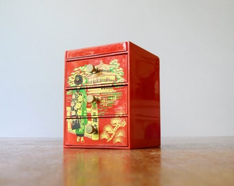 Vintage Japanese Lacquerware Jewelry Box with Mirror / Drawers