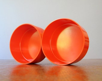 Two Vintage Heller Vignelli Orange Bowls Mod Plastic
