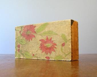Vintage Pyrography Box - Poinsettia Motif