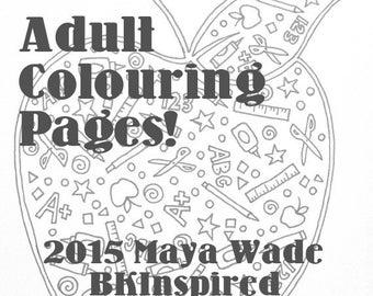 Adult Coloring Page - Teacher Apple - Doodle