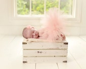 Newborn Tutu Set, Peach Tutu, Flower Headband, Baby Girls Photo Prop, Ready To Ship
