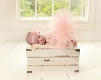 Newborn Tutu Set, Peach Tutu, Flower Headband, Baby Girls Photo Prop, Ready To Ship