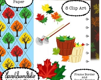 Autumn Trees Clip Art Maple Leaves Tree Fall Rake Commercial Personal Hand Drawn Art Scrapbook Paper