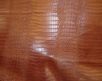 """Vinyl Faux Leather Crocodile Nile Mocha embossed Faux vinyl fake upholstery fabric sold per yard 55"""" Wide"""