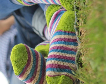 Hand KNITTED WOOL SOCKS  White, Plum and blue stripes with lime green  toes- stunning colours- Monavale Rose- made for couples - valentine's