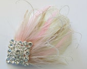 Bridal Feather Hairpiece Gatsby Wedding,1920s, Ivory, Blush, Antique Gold Bridal Head Piece, Feather Fascinator