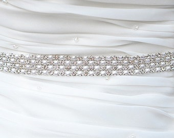 SALE Wedding Belt, Bridal Belt, Sash Belt, Crystal Rhinestones sash belt, pearl sash belt