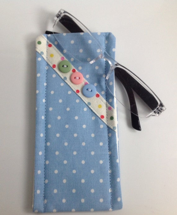 cath kidston blue mini dot fabric glasses case handmade in. Black Bedroom Furniture Sets. Home Design Ideas