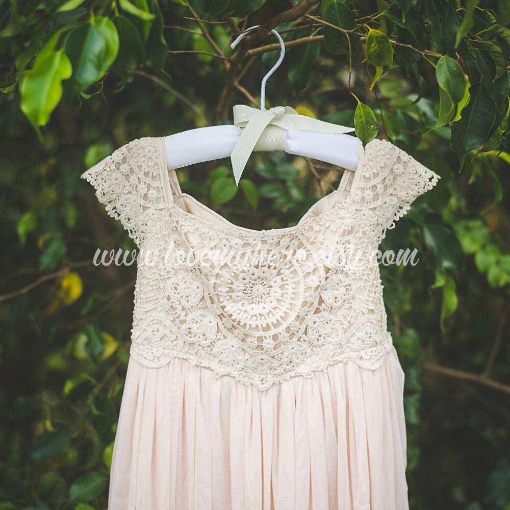 Beige Tan Crochet Flower Girl Dress Shabby Chic By