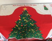 Fabric Panel - Christmas Apron - Christmas Tree Presents - Hostess Gift - French Horn  - Pattern Instructions - Holiday Entertaining - Red