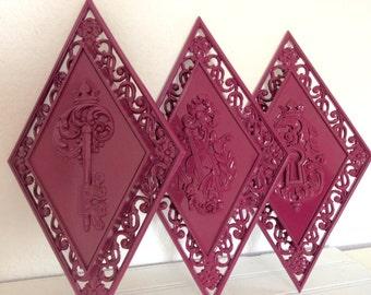 Vintage Wall Plaques - Ornate - Orchid Magenta - Modern Cottage Decor - Boho Bohemian - Kitsch - Purple Wall Hanging - Dart - Wall Decor