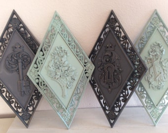 Vintage Wall Plaques - Ornate - Aqua Mint Grey - Modern Decor - Distressed - Shabby Chic - French Cottage - Wall Hanging - Dart  Wall Decor
