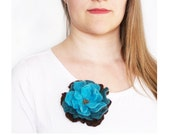 Brown blue brooch Large flower brooch Soft hand felted floral rose pin Multicolor accessory Floral brooch