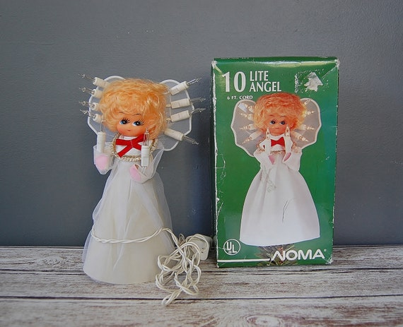 Christmas Tree Angel Topper Doll Lights Up, Kitsch Christmas Decor, Vintage Tree Topper
