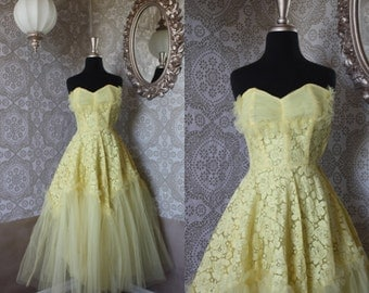 Vintage 1950's Yellow Tulle and Lace Prom Dress XS XXS