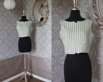 Vintage 1950's 60's  Sage Green and white Crop Top S/M