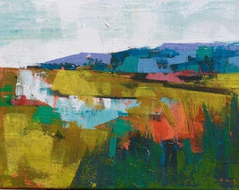 """Late summer 8 """" Original acrylic landscape painting on canvas 12"""" x 9"""" x 1"""""""