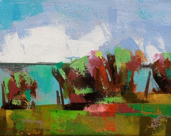 "Late summer 11"" Original acrylic landscape painting on canvas 12"" x 9"" x 1"""