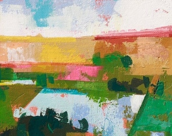 """Late summer 13"""" Original acrylic landscape painting on canvas 9"""" x 12"""" x 1"""""""