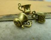 10pcs 10x12x15mm The Teacup Antique Bronze Retro Pendant Charm For Jewelry Bracelet Necklace Charms Pendants C3459