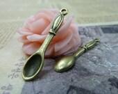 20pcs 7x35mm The Spoon Antique Bronze Retro Pendant Charm For Jewelry Bracelet Necklace Charms Pendants C219