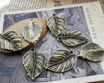 10pcs 20x30mm The Leaves  Antique Bronze Retro Pendant Charm For Jewelry Bracelet Necklace Charms Pendants C711