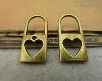 20pcs 12x25mm The Lock  Antique Bronze Retro Pendant Charm For Jewelry Bracelet Necklace Charms Pendants C4050